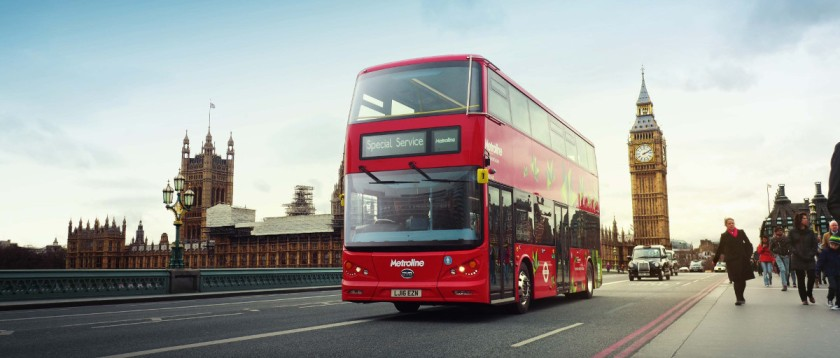 The-all-electric-version-of-the-iconic-double-decker-London-red-bus-crosses-Westminster-bridge-as-a-part-of-the-vehicles-lauch-event-image-courtesy-of-BYD
